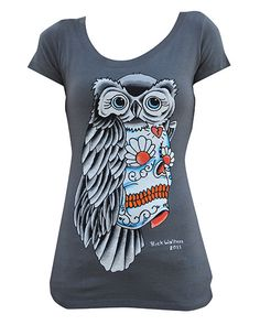Sugar Skull Owl Scoop Neck Top - 100% Cotton - Artist: Rick Walters - Color: Gray Made in the USA by Black Market Art Company
