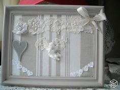 Pour consulter toutes ces créations  rdv sur EBAY  / RECHERCHER  :  tableau artisanal décoratif shabby chic / cadre romantique  ( PSEUDO MARTINEJEANMI) Chabby Chic, Creation Deco, Silk Ribbon Embroidery, Ribbon Work, Embroidery Techniques, Craft Fairs, Diy And Crafts, Handmade Items, Creations