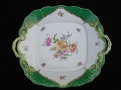 """HEREND """"BOUQUET DE HEREND"""" SQUARE HANDLED CAKE PLATE GREEN SCALE BORDER #430 BHR"""