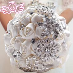 Find More Wedding Bouquets Information about Elegant Customized Bridal Wedding Bouquet With Pearl Beaded Brooch And Silk Roses,Romantic Wedding Colorful Bride 's Bouquet,High Quality wedding crystal bouquet,China bouquet boxes Suppliers, Cheap wedding bouquet styles from Perfect Girl Factory Store on Aliexpress.com