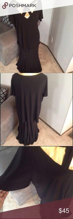 "Top & Skirt Set! Interesting neckline with flutter sleeves. Elastic waist on skirt.   26"" long top,  35"" long skirt.       True BLACK color.  I'm also selling a black ensemble just like this one! ANTTHONY ORIGINAL Dresses Midi"