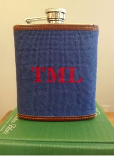 Tucker Blair Needelpoint Flask | #SouthernStyle #Monogram | SouthernLiving.com how cute are these to do in your wedding colors and give to the guys.