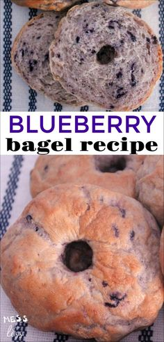 Blueberry Bagels Recipe Love the taste of bagels, but don't have the time or money to go to a bagel shop each day? Check out this Blueberry Bagels Recipe, and see how easy it is to enjoy yummy bagels without ever leaving the house. Healthy Bagel, Vegan Bagel, Bread Recipes, Baking Recipes, Bagel Bread, Bread Food, Bread Baking, Blueberry Bagel, Breakfast