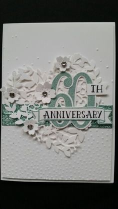 Anniversary Card using Stampin Up Blooming Heart Die and Softly Falling Embossing Folder