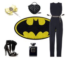 Do you wanna play Cat Woman?   (Victoria Beckham trouser jumpsuit, Alexander McQueen Swarovski crystal-embellished patent-leather sandals, MARC BY MARC JACOBS Heart to Heart cross-body bag, Chanel Coco Noir, brooch by House of April)