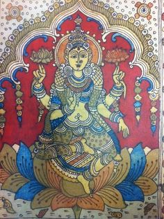 Kalamkari Painting, Silk Painting, Ancient Indian Art, Divine Mother, Fashion Painting, Indian Gods, Indian Paintings, Deities, Painting Styles
