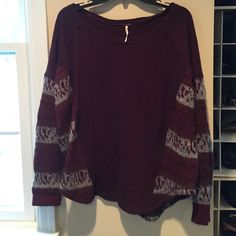 FREE PEOPLE SWEATSHIRT sz M Wine colored Great Free People oversized sweatshirt. It's wine and light grey color. Mixed media item- sweatshirt front and back panels with sleeves and sides in sweater yarn! Perfect with a pair of jeans! Free People Tops Sweatshirts & Hoodies