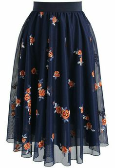 Trig Florets Mesh Midi Skirt in Navy- New Arrivals - Retro, Indie and Unique Fashion - Tap th Mode Outfits, Skirt Outfits, Dress Skirt, Navy Skirt, Waist Skirt, Modest Clothing, Modest Fashion, Fashion Dresses, Maxi Dresses