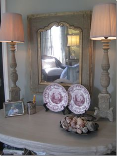 Love the lamps and mirror