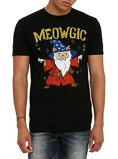 Meowgic Cat Wizard T-Shirt, BLACK
