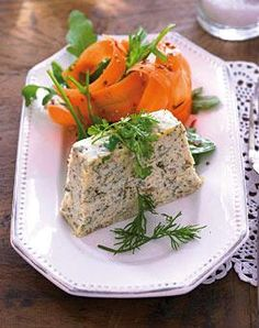 Trout Terrine with Carrot Salad Carrot Salad Recipes, Appetizer Dips, Feta, Salmon, Food And Drink, Vegetarian, Potatoes, Dishes