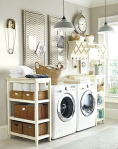 This hardworking laundry area has freestanding shelves, bulletin boards, and a drying rack