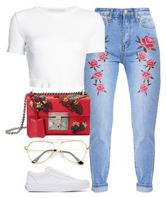 """Roses Are Red"" by monmondefou ❤ liked on Polyvore featuring Rosetta Getty, Gucci and Vans"