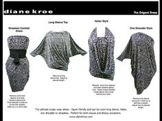Diane Kroe - The Origami Travel Dress - Demo by Ella Modella Convertible Clothing, Convertible Dress, Infinity Dress Patterns, Origami Top, Sewing Tutorials, Sewing Projects, Strapless Cocktail Dresses, Travel Dress, Wrap Dresses