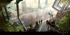 Christian Hecker aka Tigaer is an amazing digital artist from Germany, who works with concept art, matte painting and to create visually stunning environment Futuristic City, Futuristic Architecture, Futuristic Interior, Environment Concept, Environment Design, Sci Fi Fantasy, Fantasy World, Art Science Fiction, Sci Fi Kunst