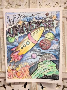 Welcome to the Universe Original Print with Watercolor Galaxy Theme, Say Hello, Kids Room, Nerd, Universe, Watercolor, The Originals, Paper, Pretty