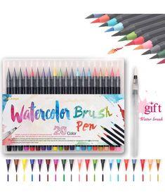 Color Premium Painting Soft Brush Pen Set Watercolor Copic Markers Pen Effect Best For Coloring Books Manga Comic Calligraphy Quotes Doodles, Watercolor Brush Pen, Watercolor Painting, Painting Art, Art Supplies Storage, Cool Paper Crafts, Marker Pen, Cute Wallpaper Backgrounds, Paint Pens