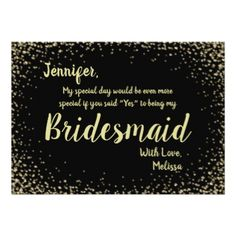 Gold Confetti Glitter Glam Bridesmaid Card - glitter glamour brilliance sparkle design idea diy elegant