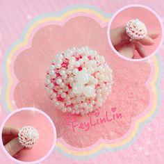 #FeyLinLin #ring #pink #cute #kawaii #embroidery #beads  #кольцо #зефирка #вышивка #бисер #ビーズ刺繍