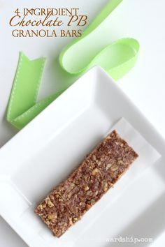 4 Ingredient No Bake Chocolate Peanut Butter Granola Bars