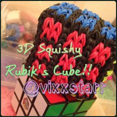 3D Rubiks Cube Squishy (Loom Band Toy) Rainbow Loom Tutorial by Vixxstarr