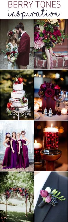 Berry Tone Wedding Inspiration - wedding bouquets, centerpieces, dresses, boutonnieres, invitations and wedding cakes in berry tones. #berrytone #berryinspiration