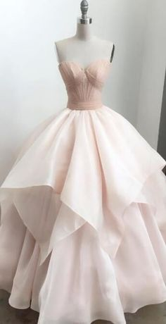 2018 sweetheart pink long prom dress ball gown wedding dress #prom #promdresses #dressesforprom #promoutfit