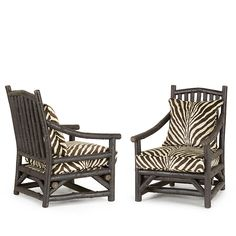 Rustic Club Chair and Ottoman by La Lune Collection, in rich Ebony finish and upholstered with zebra printed hair-on-hide. rustic beauty at its most exotic! Rustic Chair, Rustic Furniture, Outdoor Furniture, Outdoor Chairs, Outdoor Decor, Chair And Ottoman, Club Chairs, Beautiful Interiors, Zebra Print