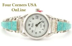 Four Corners USA Online - Women's Turquoise Inlay Sterling Watch Native American Jewelry Navajo Silversmith Steve Francisco, $107.00 (http://stores.fourcornersusaonline.com/womens-turquoise-inlay-sterling-watch-native-american-jewelry-navajo-silversmith-steve-francisco/)