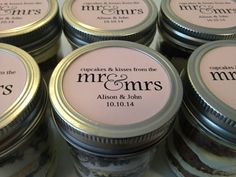 6 (8oz) Cupcakes In A Jar-Mason Jars-Wedding Favors-Favors-Wedding-Bridal Shower Favors-Bridal Shower-Hotel Guest Bag-Cupcakes ad Kisses
