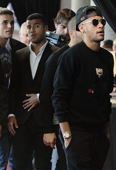 Neymar, Rafinha Alcantara and Jordi Masip pay tribute to late Dutch football star Johan Cruyff in a special condolence area set up at Camp Nou stadium on March 29, 2016 in Barcelona