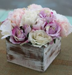 Morgann Hill Designs: Shabby Chic Rustic Flower Bouquet Wedding Centerpiece Arrangement  @Catie @ Catie's Corner @ Catie's Corner @ Catie's Corner @ Catie's Corner Smith  set on top of vintage books with candles all around