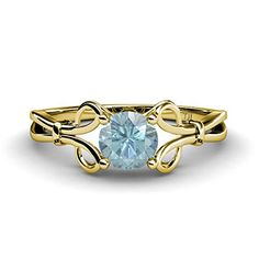 March #Birthstone is out in new #Floral #Solitaire #Ring..... - 30 Days Return - Appraisal Certificate #love #gift #march #aquamarine #gold #jewelry #trijewels