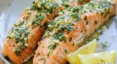 Garlic Herb Roasted Salmon - best roasted salmon recipe ever! Made with butter, garlic, herb, lemon and dinner is ready in 20 minutes. Best Salmon Recipe, Healthy Salmon Recipes, Easy Delicious Recipes, Fish Recipes, Seafood Recipes, Cooking Recipes, Recipies, Garlic Salmon, Roasted Salmon