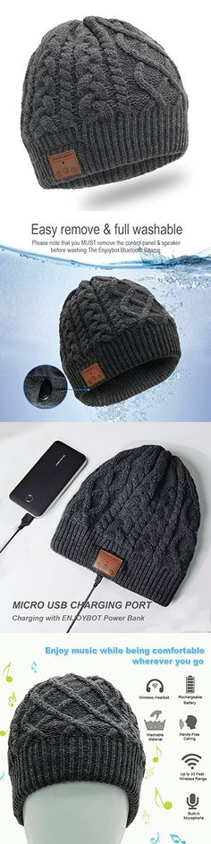Enjoybot Bluetooth Beanie Wireless Knit Winter Hats Cap with Built-in Stereo Speakers and Microphone for Outdoor Sports and Christmas Gift (Unisex, 002-Charcoal)