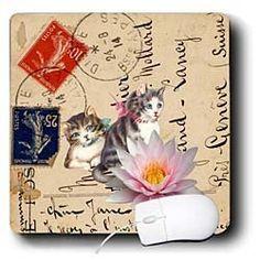 Cassie Peters Digital Art - Vintage Cats on a Postcard Back Digital Art by Angelandspot - Mouse Pads by 3dRose, http://www.amazon.com/dp/B00BWCAB2W/ref=cm_sw_r_pi_dp_oknurb1VK6215