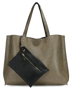 Scarleton Stylish Reversible Tote Bag H1842 Dark Khaki/Black New #Scarleton #DarkKhakiBlack