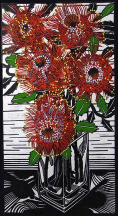 Patternbank love Gail Kellet's linocut studies of the Australian flora and fauna where she lives on the Fleurieu Peninsula, Southern Australia. Kelley enha
