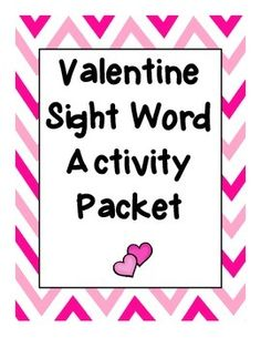 Created by Heather Scheel at Teachers and Tots: www.teacherspayteachers.com/store/Teachers-and-Tots  This Valentine-themed packet includes 5 activities for practicing sight words.  Children will roll and color sight words, write missing sight words in easy-to-read sentences (that also include other sight words), color  a Valentine monster by sight word, graph sight words and unscramble sight words.