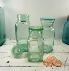 Farmhouse Antique // Teal Glass // Vintage Pickle by RedCatReclaim, $19.95