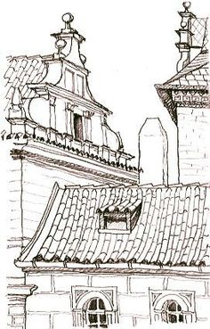 sketches of rooftops | ... rooftops and gables. Pen and pencil sketch of By Lynne Chapman