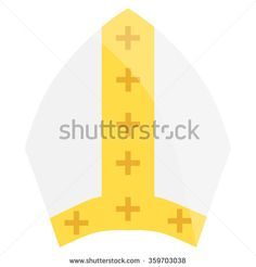 Vector illustration papal tiara, hat with cross. Religion symbol. Pope wearing