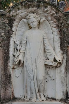 """""""Hope"""" is the thing with feathers That perches in the soul And sings the tune without the words And never stops at all- Emily Dickenson Cemetery Angels, Cemetery Statues, Cemetery Art, Angel Statues, Old Cemeteries, Graveyards, Bonaventure Cemetery, Steinmetz, Angel Sculpture"""