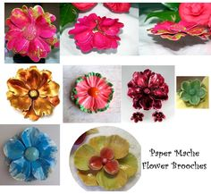 The 158 best paper mache crafts images on pinterest in 2018 paper paper mache flower brooches mightylinksfo