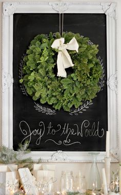 Joy to the World Chalkboard and Wreath