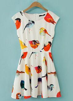 Bird Print Skater Dress