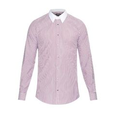 GUCCI Classic-fit striped cotton shirt ($327) ❤ liked on Polyvore featuring mens, men's clothing, men's shirts, men's dress shirts, red multi and shirts