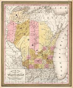 Vintage Wall Art, Vintage Walls, Upper Peninsula, Lake Superior, Family History, Wisconsin, Minnesota, Vintage World Maps, United States