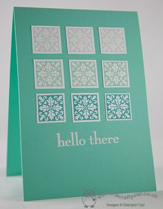 The Crafty Owl's Blog   Aqua Ombre Squares Card