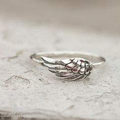 Angel Wing Ring, Sterling Silver Jewelry, Stacking Ring
